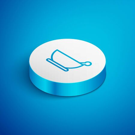 Isometric line Mortar and pestle icon isolated on blue background. White circle button. Vector Illustration