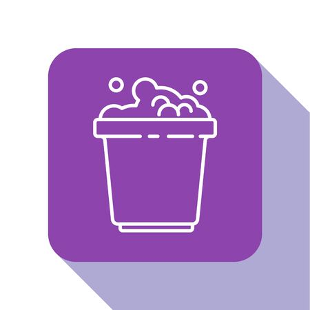 White line Bucket with soap suds icon isolated on white background. Bowl with water. Washing clothes, cleaning equipment. Purple square button. Vector Illustration