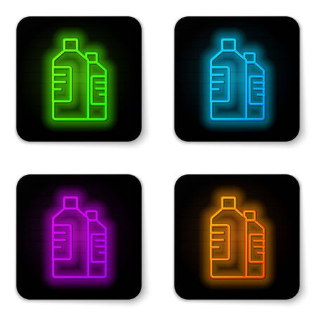 Glowing neon line Plastic bottles for laundry detergent, bleach, dishwashing liquid or another cleaning agent icon isolated on white background. Black square button. Vector Illustration