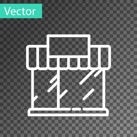 White line Shopping building or market store icon isolated on transparent background. Shop construction. Vector Illustration.