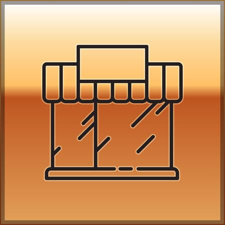 Black line Shopping building or market store icon isolated on gold background. Shop construction. Vector Illustration.