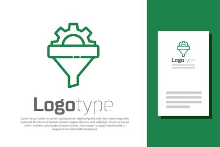 Green line Sales funnel with arrows for marketing and startup business icon isolated on white background. Infographic template.
