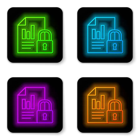 Glowing neon line Document and lock icon isolated on white background. File format and padlock. Security, safety, protection concept. Black square button. Vector Illustration.