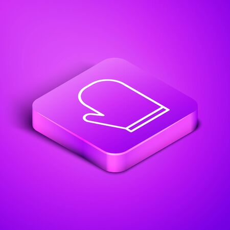 Isometric line Oven glove icon isolated on purple background. Kitchen potholder sign. Cooking glove. Purple square button. Vector Illustration. 版權商用圖片 - 147912040
