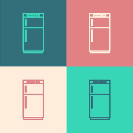 Pop art line Refrigerator icon isolated on color background. Fridge freezer refrigerator. Household tech and appliances. Vector Illustration.