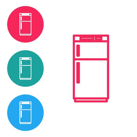 Red line Refrigerator icon isolated on white background. Fridge freezer refrigerator. Household tech and appliances. Set icons in circle buttons. Vector Illustration. Çizim