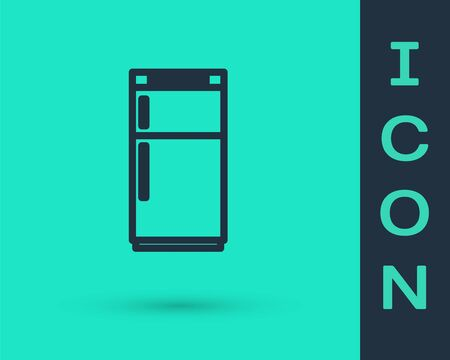 Black line Refrigerator icon isolated on green background. Fridge freezer refrigerator. Household tech and appliances. Vector Illustration.