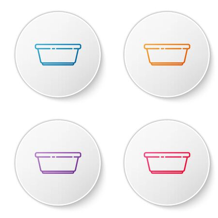 Color line Plastic basin icon isolated on white background. Bowl with water. Washing clothes, cleaning equipment. Set icons in circle buttons. Vector Illustration.