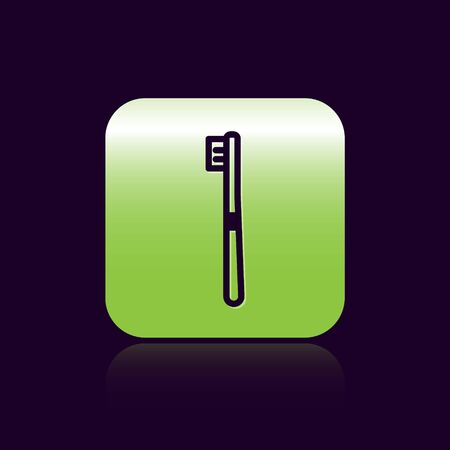 Black line Toothbrush icon isolated on black background. Green square button. Vector Illustration.