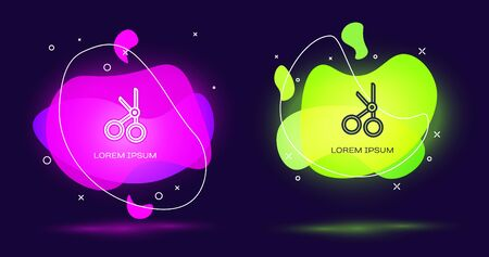 Line Medical scissors icon isolated on black background. Abstract banner with liquid shapes. Vector Illustration. Illustration