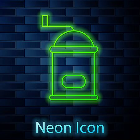 Glowing neon line Manual coffee grinder icon isolated on brick wall background. Vector Illustration.