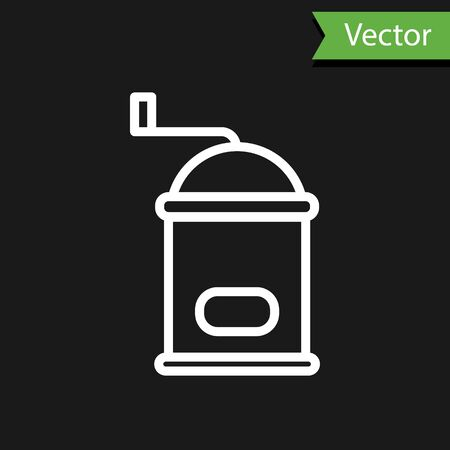 White line Manual coffee grinder icon isolated on black background. Vector Illustration. 向量圖像