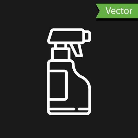 White line Cleaning spray bottle with detergent liquid icon isolated on black background. Vector Illustration.