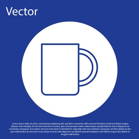 Blue line Coffee cup icon isolated on blue background. Tea cup. Hot drink coffee. White circle button. Vector Illustration