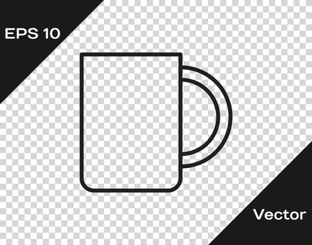 Black line Coffee cup icon isolated on transparent background. Tea cup. Hot drink coffee. Vector Illustration 向量圖像