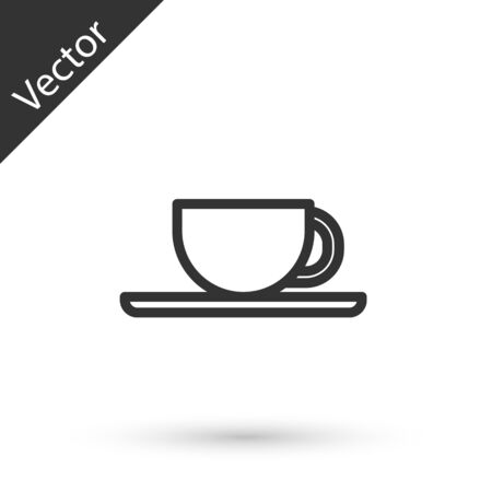 Grey line Coffee cup icon isolated on white background. Tea cup. Hot drink coffee. Vector Illustration