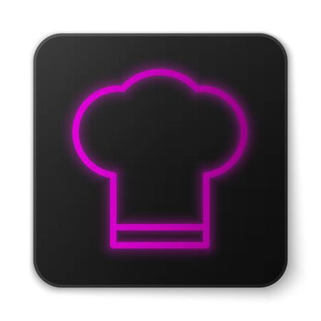 Glowing neon line Chef hat icon isolated on white background. Cooking symbol. Cooks hat. Black square button. Vector Illustration Illustration