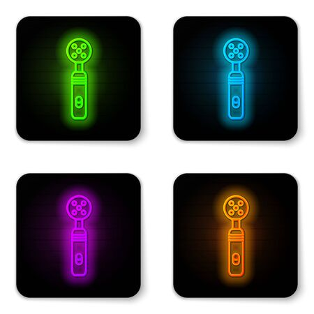 Glowing neon line Electric toothbrush icon isolated on white background. Medical instrument. Black square button. Vector Illustration