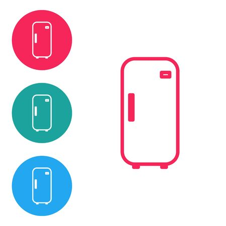 Red line Refrigerator icon isolated on white background. Fridge freezer refrigerator. Household tech and appliances. Set icons in circle buttons. Vector Illustration Çizim