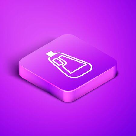 Isometric line Plastic bottle for liquid laundry detergent, bleach, dishwashing liquid icon isolated on purple background. Purple square button. Vector Illustration.