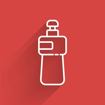 White line Dishwashing liquid bottle icon isolated with long shadow. Liquid detergent for washing dishes. Vector Illustration