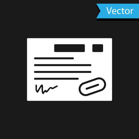 White Warranty certificate template icon isolated on black background. Vector Illustration