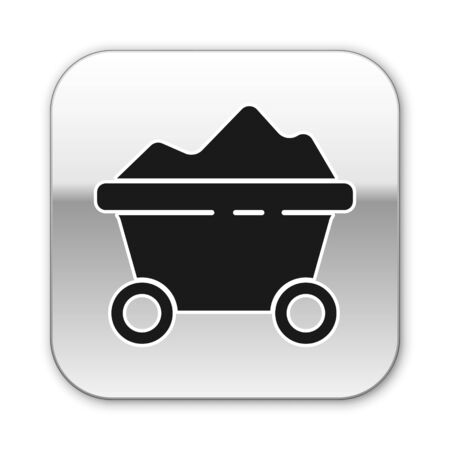 Black Coal mine trolley icon isolated on white background. Factory coal mine trolley. Silver square button. Vector Illustration