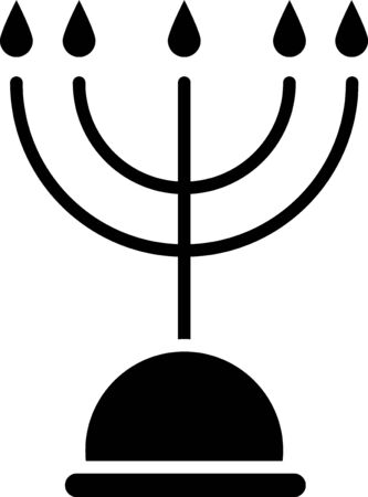 Black Hanukkah menorah icon isolated on white background. Hanukkah traditional symbol. Holiday religion, jewish festival of Lights. Vector Illustration 向量圖像