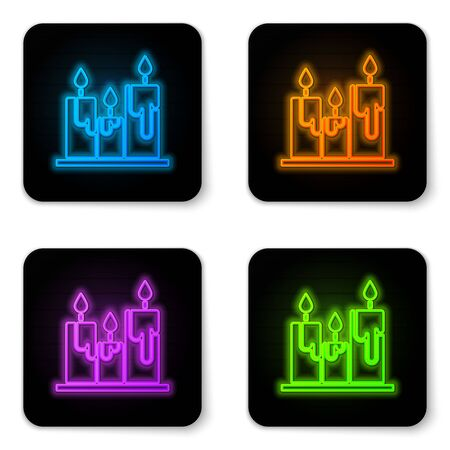 Glowing neon Burning candles icon isolated on white background. Cylindrical candle stick with burning flame. Black square button. Vector Illustration 向量圖像