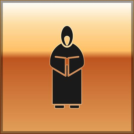Black Monk icon isolated on gold background. Vector Illustration Çizim