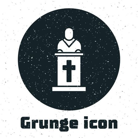 Grunge Church pastor preaching icon isolated on white background. Monochrome vintage drawing. Vector Illustration