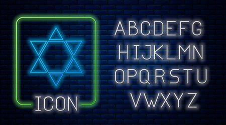 Glowing neon Star of David icon isolated on brick wall background. Jewish religion symbol. Symbol of Israel. Neon light alphabet. Vector Illustration Illustration