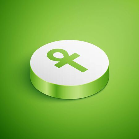 Isometric Cross ankh icon isolated on green background. White circle button. Vector Illustration