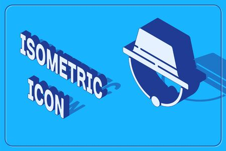 Isometric Camping hat icon isolated on blue background. Beach hat panama. Explorer travelers hat for hunting, hiking, tourism. Vector Illustration