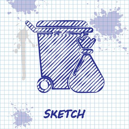 Sketch line Trash can and garbage bag icon isolated on white background. Garbage bin sign. Recycle basket icon. Office trash icon. Vector Illustration Vettoriali