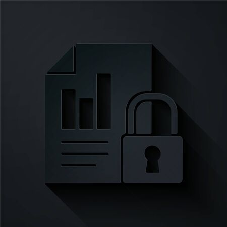 Paper cut Document and lock icon isolated on black background. File format and padlock. Security, safety, protection concept. Paper art style. Vector Illustration