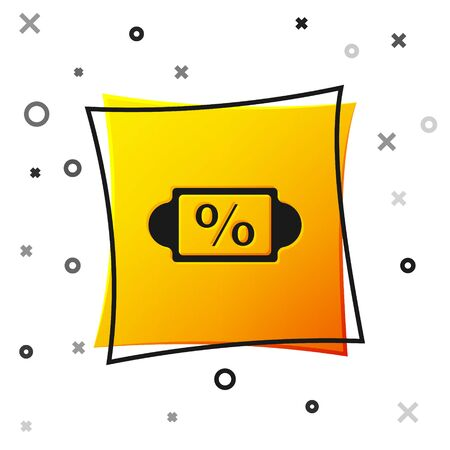 Black Discount percent tag icon isolated on white background. Shopping tag sign. Special offer sign. Discount coupons symbol. Yellow square button. Vector Illustration.