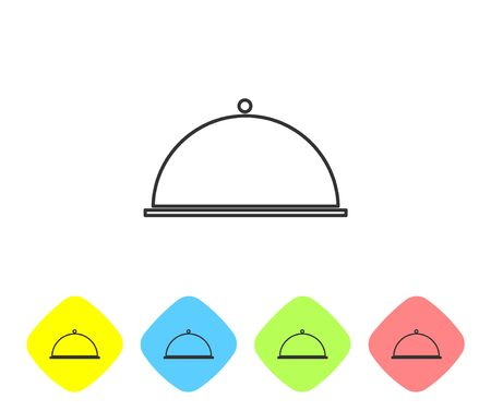 Grey line Covered with a tray of food icon isolated on white background. Tray and lid. Restaurant cloche with lid. Kitchenware symbol. Set icons in color rhombus buttons. Vector Illustration Illustration