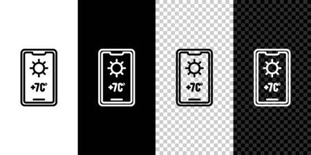 Set line Weather forecast icon isolated on black and white background. Vector Illustration.