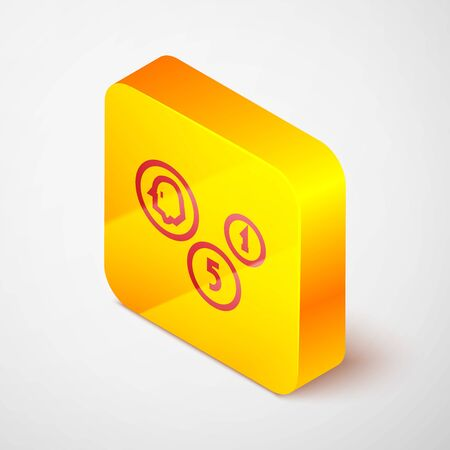 Isometric line Coin money icon isolated on grey background. Banking currency sign. Cash symbol. Yellow square button. Vector Illustration.