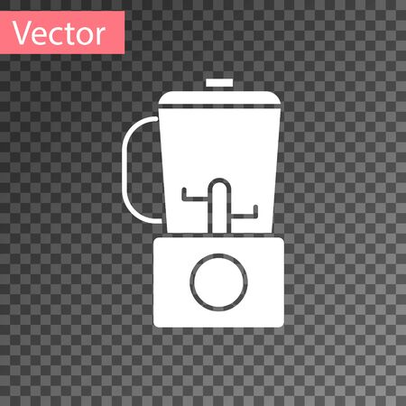 White Blender icon isolated on transparent background. Kitchen electric stationary blender with bowl. Cooking smoothies, cocktail or juice. Vector Illustration
