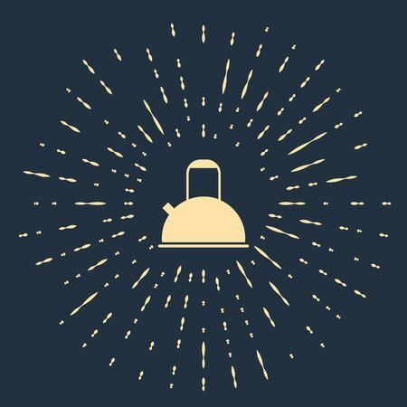 Beige Kettle with handle icon isolated on blue background. Teapot icon. Abstract circle random dots. Vector Illustration.