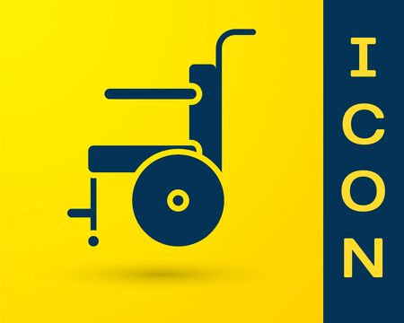 Blue Wheelchair for disabled person icon isolated on yellow background. Vector Illustration. Stock Illustratie