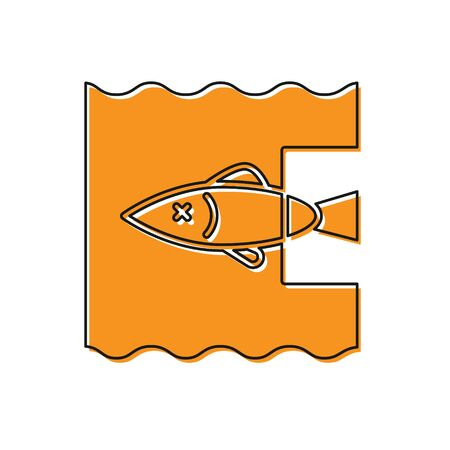 Orange Stop ocean plastic pollution icon isolated on white background. Environment protection concept. Fish say no to plastic. Vector Illustration