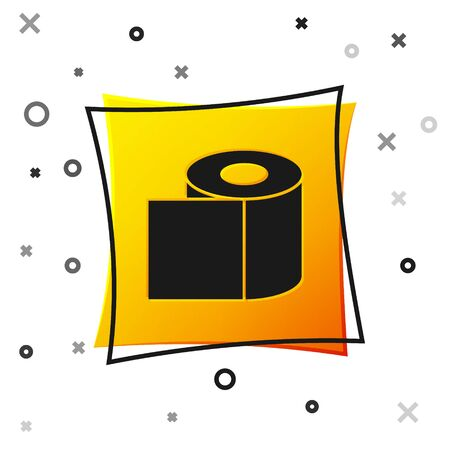 Black Toilet paper roll icon isolated on white background. Yellow square button. Vector Illustration.