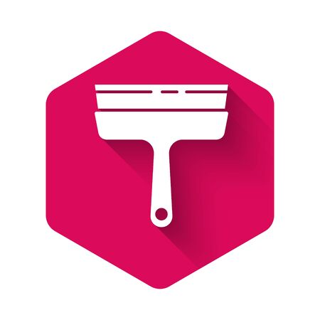 White Cleaning service with of rubber cleaner for windows icon isolated with long shadow. Squeegee, scraper, wiper. Pink hexagon button. Vector Illustration.
