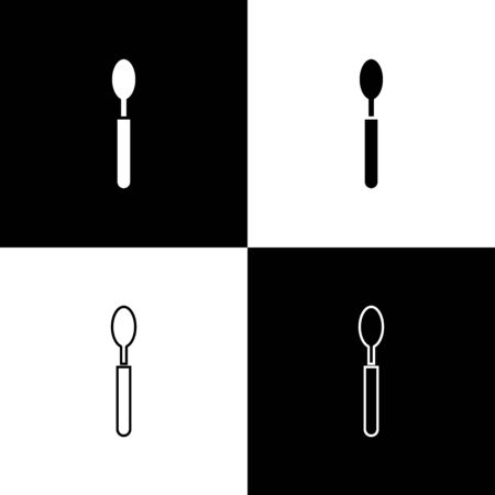 Set Spoon icon isolated on black and white background. Cooking utensil. Cutlery sign. Vector Illustration. Illusztráció