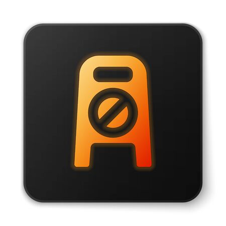Orange glowing neon Wet floor and cleaning in progress icon isolated on white background. Cleaning service concept. Black square button. Vector Illustration.