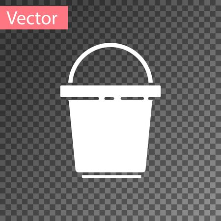 White Bucket icon isolated on transparent background. Cleaning service concept. Vector Illustration. Illusztráció