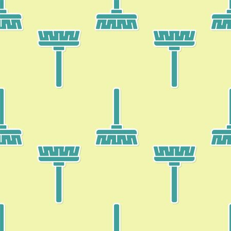 Green Handle broom icon isolated seamless pattern on yellow background. Cleaning service concept. Vector Illustration.